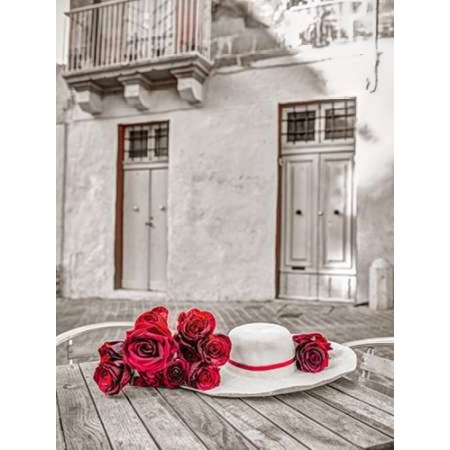 Maltese Rose - Female hat with bunch of roses on cafe table Malta Poster Print by  Assaf Frank