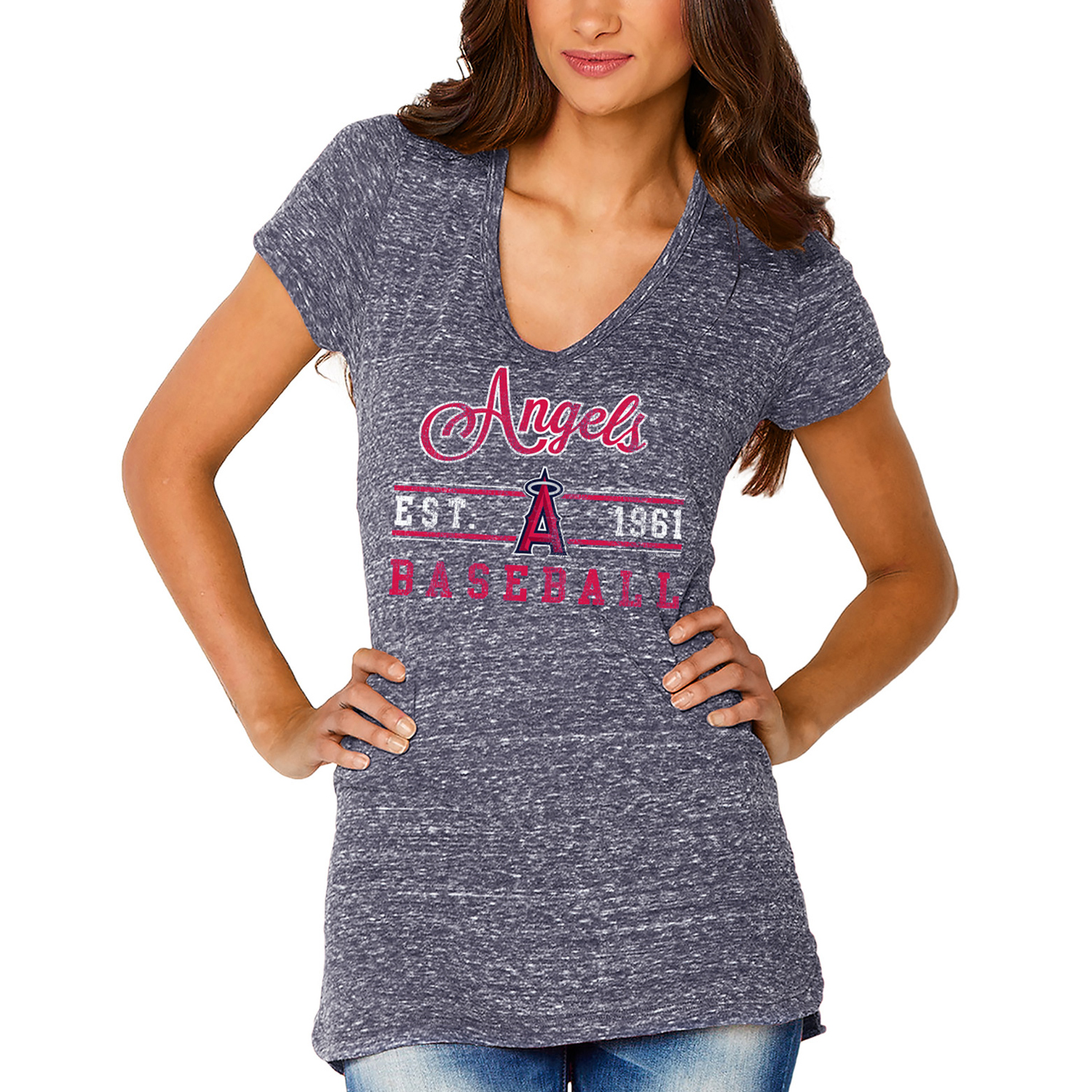Los Angeles Angels Soft as a Grape Women's Double Play V-Neck T-Shirt - Navy
