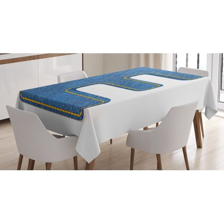 - Letter E Tablecloth, Denim Blue Jeans Themed Symbol E from Alphabet ABC of Fabric Uppercase Letter, Rectangular Table Cover for Dining Room Kitchen, 60 X 90 Inches, Blue Yellow, by Ambesonne
