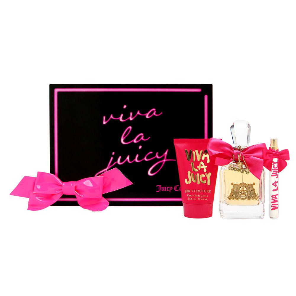 Viva La Juicy by Juicy Couture for Women 3 Piece Set Includes: 3.4 oz Eau de Parfum Spray + 4.2 oz Viva La Body Lotion + 0.33 Eau de Parfum Spray