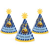 Construction Truck - Mini Cone Baby Shower or Birthday Party Hats - Small Little Party Hats - Set of 10