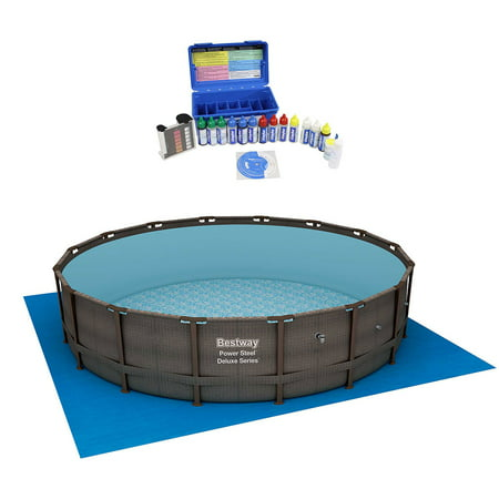 Bestway 16 Foot Power Steel Frame Above Ground Pool Set w/ Taylor Water Test (Best Way To Prepare For Sat Subject Tests)