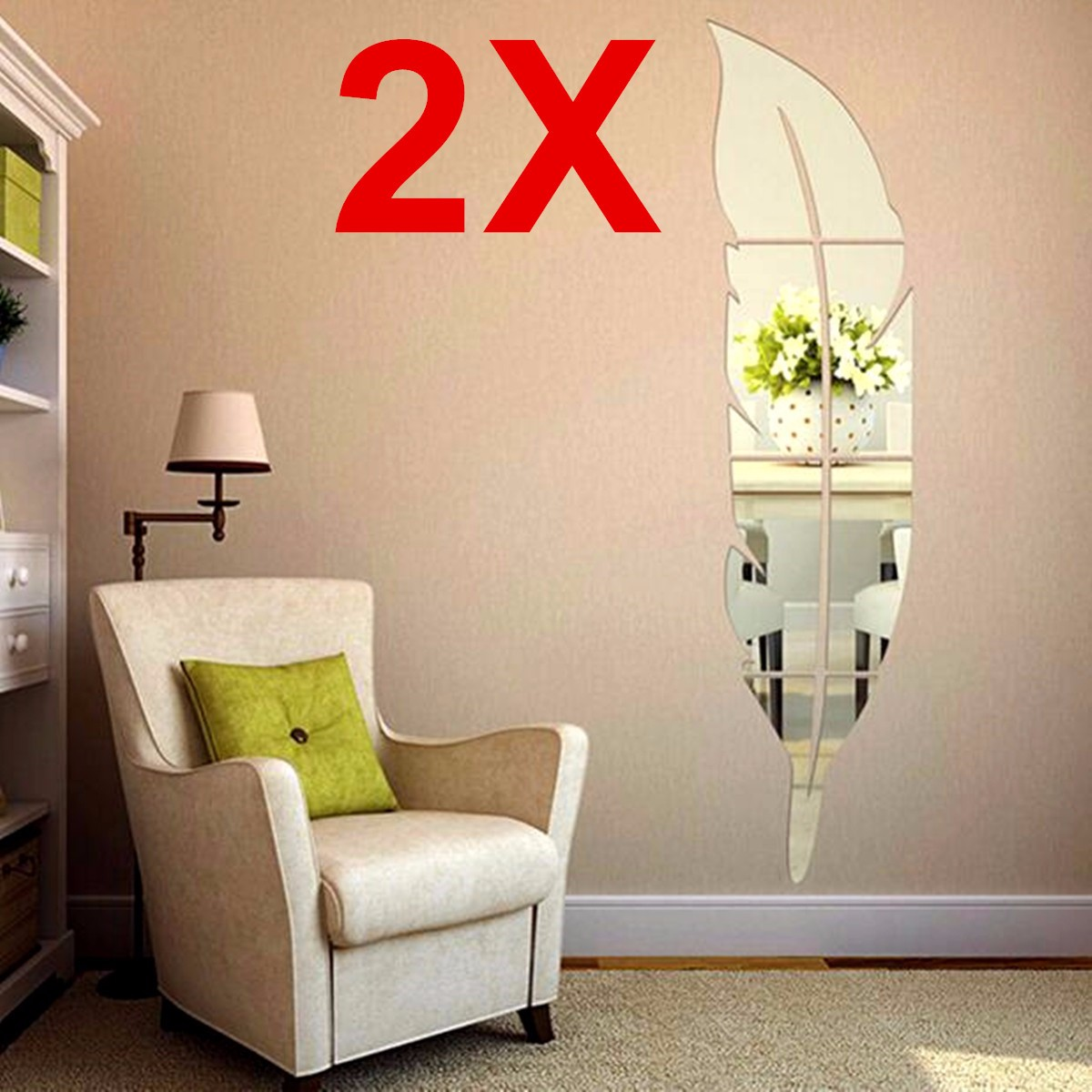 2PCS DIY Modern 3D Plume Feather Acrylic Mirror Art Wall Stickers Home Living Room Mural Decoration 7.1*29 inch