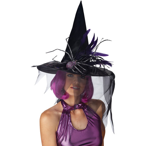 Glitter Spider Witch Hat with Feathers Adult Halloween Accessory