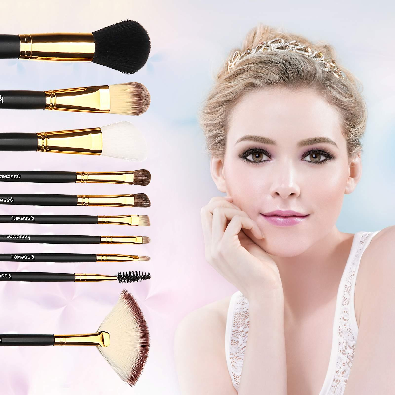 10 Pieces Premium Makeup Brushes Set, Synthetic Make Up Brushes for Powder Liquid Cream Makeup, Makeup Brushes Kit with a Travel Pouch