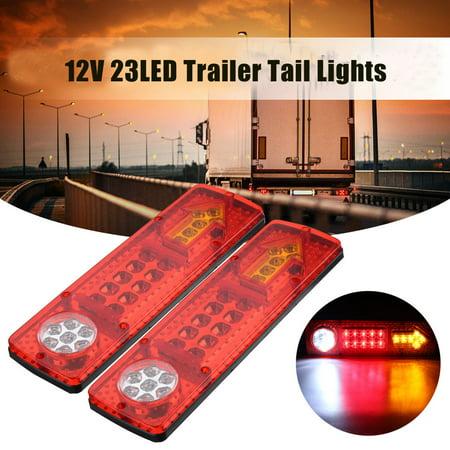 Pair 12V LED Trailer Truck Rear Tail Light Brake Stop Turn Signal Indicator Reverse Running Driving Lamp Waterproof Universal Truck Trailer Van Caravan UTE MATCC US