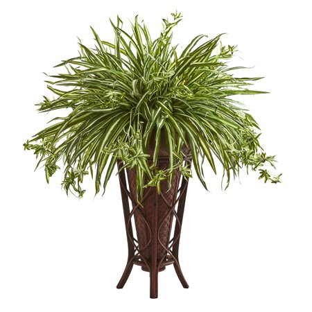Nearly Natural 37-In. Spider Artificial Plant in Decorative Stand Planter