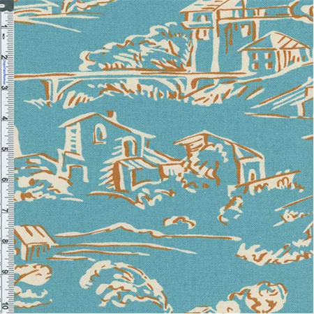 Aqua Blue Village Toile Print Home Decor Cotton, Fabric By the Yard ()