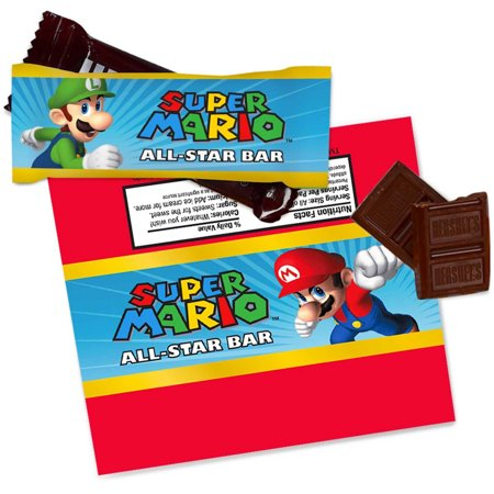 Super Mario Party Small Candy Bar Wrappers (4 sheets of 2)