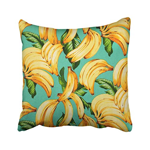 WinHome Yellow Banana And Green Leaves Blue Background Vintage Drawing Decorative Pillowcases With Hidden Zipper Decor Cushion Covers Two Sides 18x18 inches