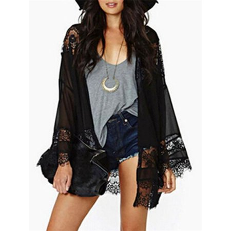 Womens Loose Chiffon Lace Coat Jacket Hollow Splice Kimono Cardigan