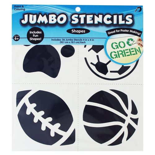WM Kids Craft Stencil, Jumbo Assorted Shapes by Horizon Group USA