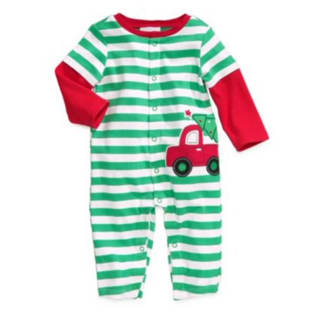 First Impressions Infant Boys Green Christmas Tree & Truck Coverall Sleeper