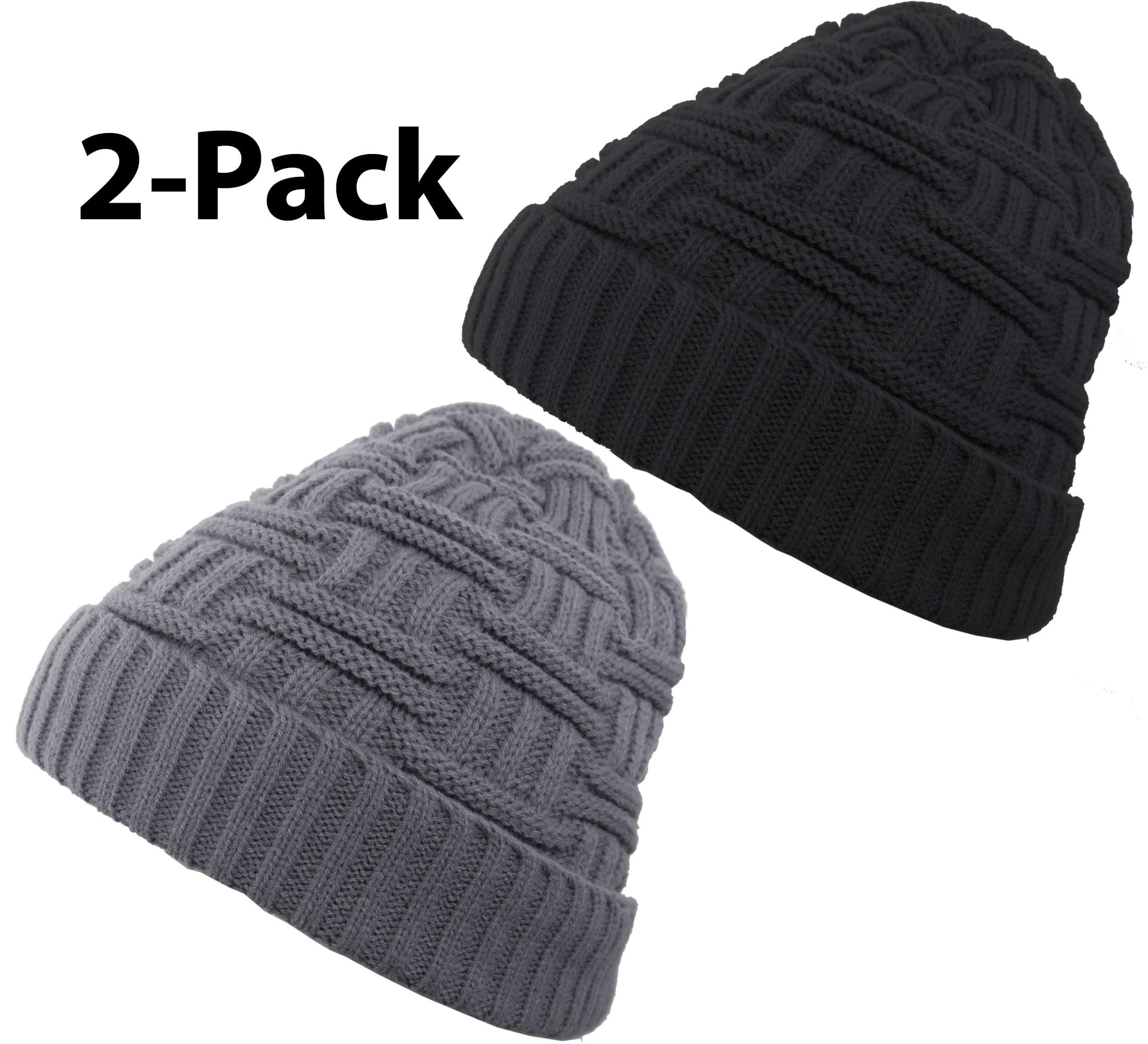 DEBRA WEITZNER - Debra Weitzner Mens Slouchy beanie knit winter hat Warm Wool  Fur Skull Cap 2-pack Black   Grey - Walmart.com a8f11a7d887a