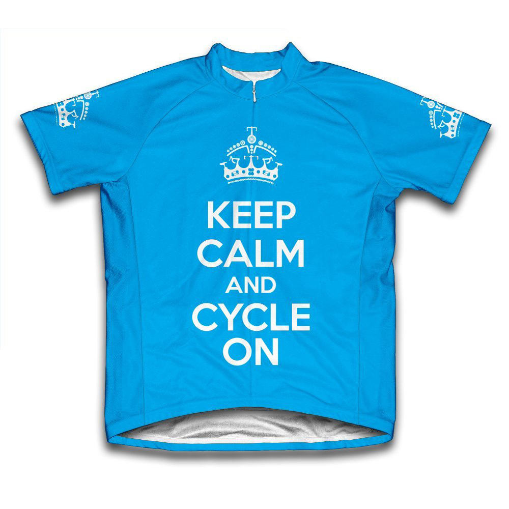 Keep Calm and Cycle On Microfiber Short-Sleeved Cycling Jersey (Base UPC 0068285870360),Blue, 2XL by Cycle Force Group
