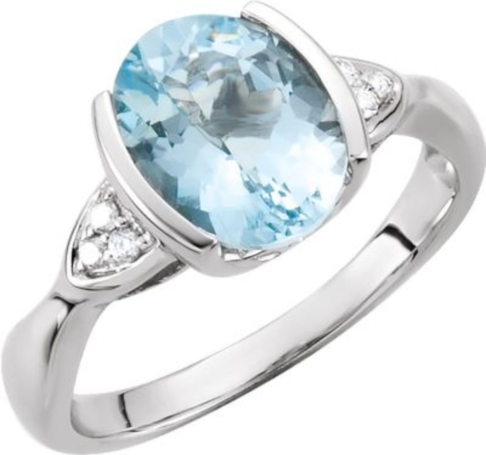 Genuine Aquamarine & Diamond Ring Size 7 by Bonyak Jewelry