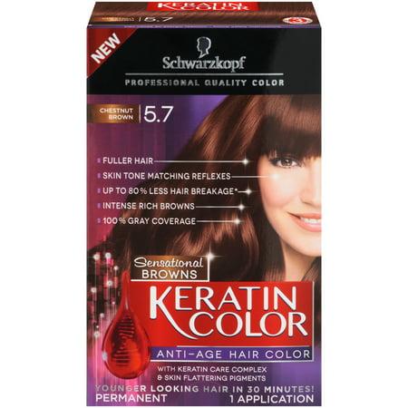 Schwarzkopf Keratin Color Permanent Hair Color Cream, 5.7 Chestnut Brown