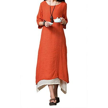 StylesILove Boho Linen-cotton Loose Long Maxi Womens Dress (S, Persimmon)