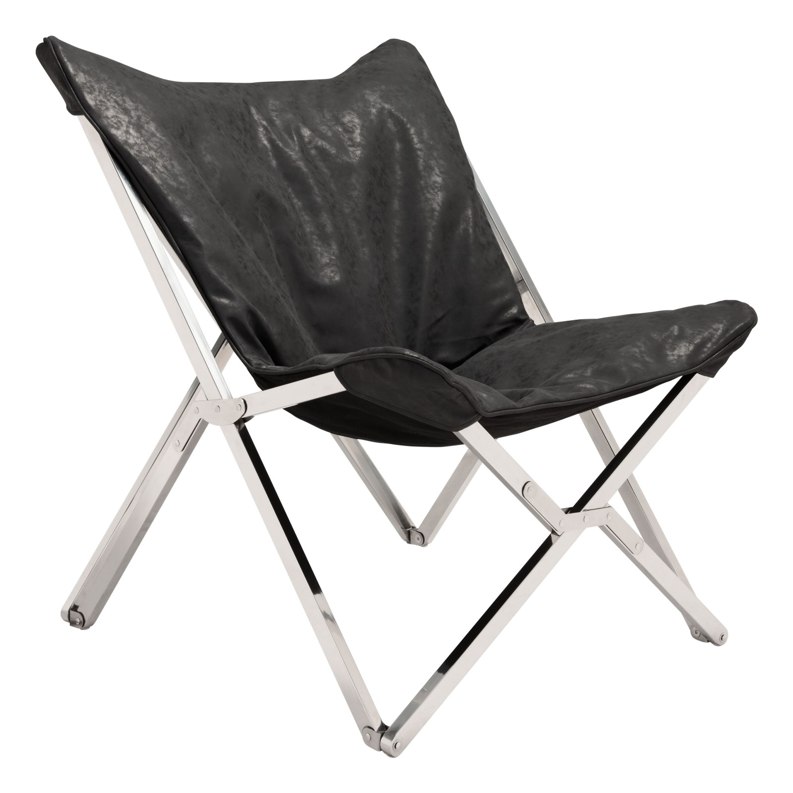 Modern Contemporary Urban Living Lounge Room Accent Chair, Black - Faux Leather Leatherette Stainless Steel