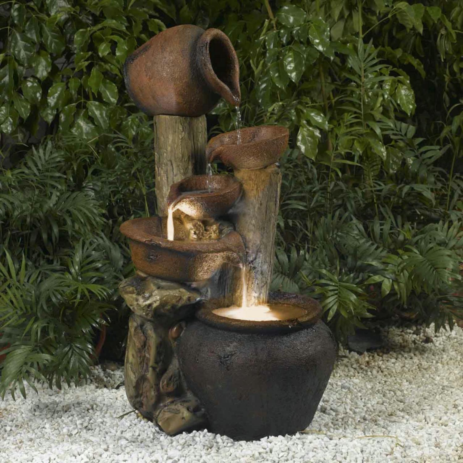 "33"" LED Lighted Rustic Rocks and Urn Pots Outdoor Patio Garden Water Fountain by CC Outdoor Living"