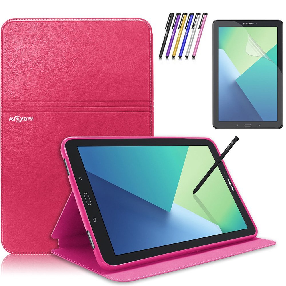 Mignova Samsung Galaxy Tab A 10.1 with S Pen Case - Slim Smart Stand Cover with Auto Sleep/Wake for Galaxy Tab A 10.1 inch Tablet with S Pen SM-P580+ Screen Protector Film and Stylus Pen (Pink)