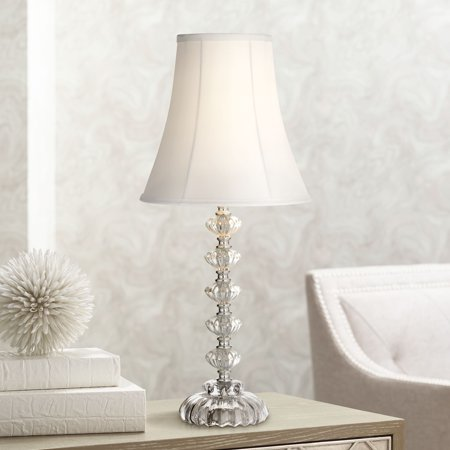 Regency Hill Cottage Accent Table Lamp Clear Stacked Glass Off White Bell Shade for Living Room Family Bedroom Bedside Office ()