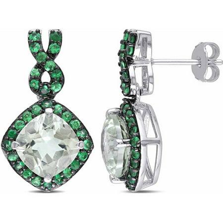 5-1/4 Carat T.G.W. Green Amethyst and Tsavorite Sterling Silver Infinity Halo Earrings