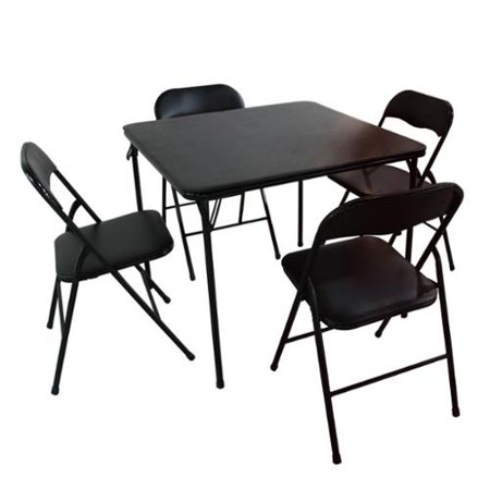 adeco black folding 5 piece table and chairs set with 1 table and 4 chairs. Black Bedroom Furniture Sets. Home Design Ideas