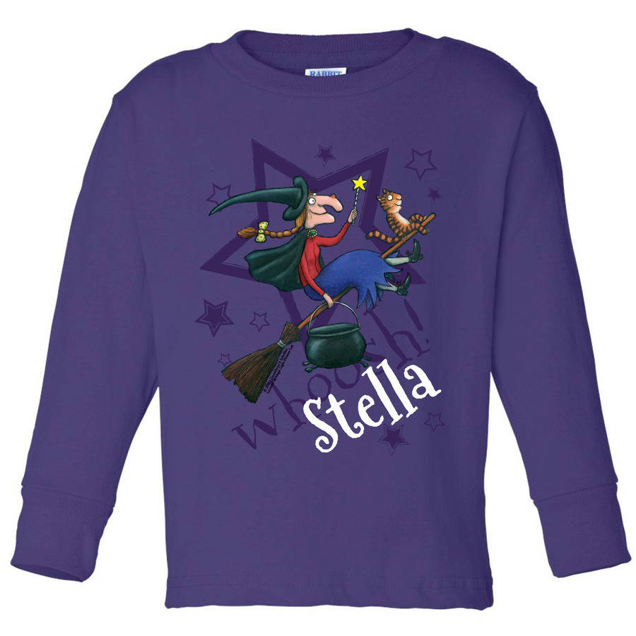 Personalized Room on the Broom Star Toddler Girl Purple Long Sleeve Tee