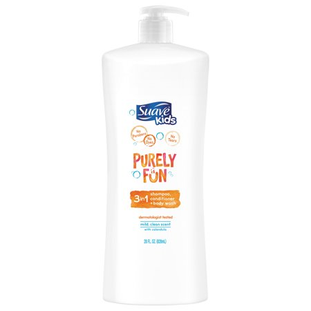 (2 pack) Suave Kids Purely Fun 3 in 1 Shampoo Conditioner Body Wash, 28 (Shampoo Conditioner Body Wash All In One)