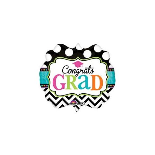 "Congrats Grad Dream Big Chevron Dots Marquee Super Shape 25"" Foil Balloon"