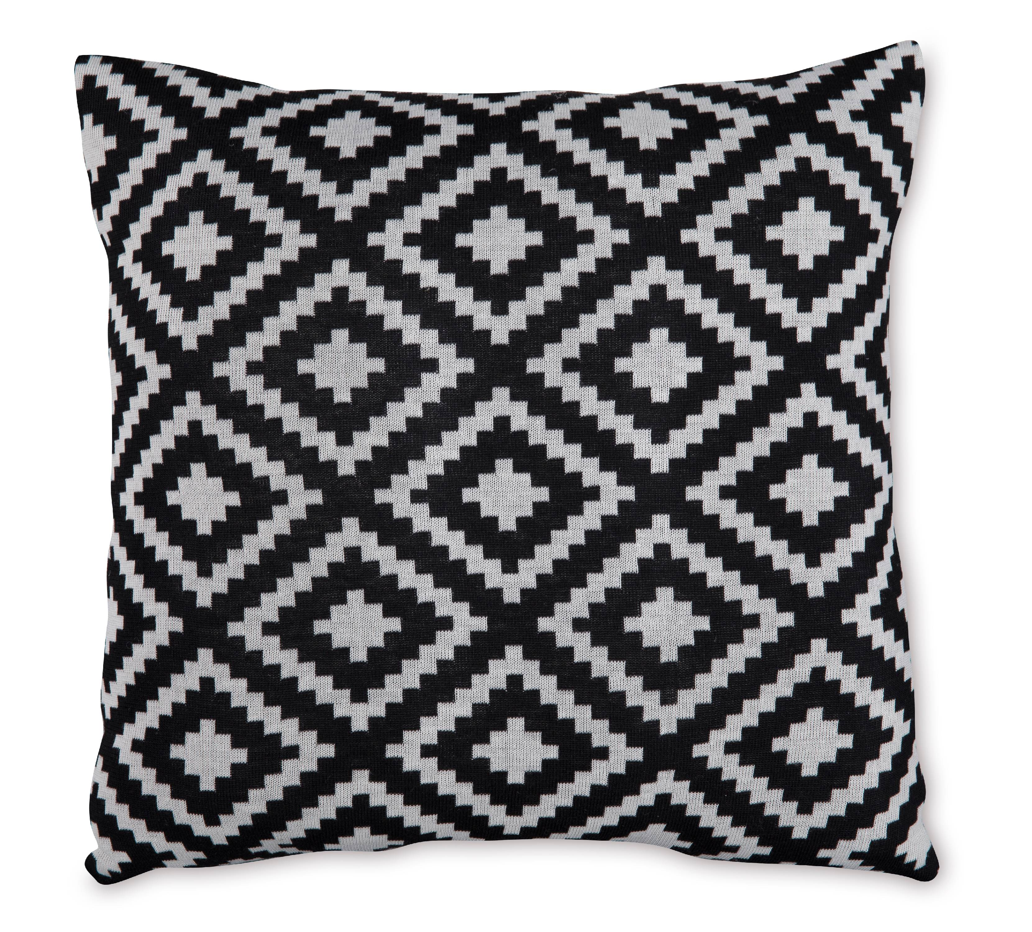 "Mainstays Sweater Knit Diamond Decorative Throw Pillow, 18"" x 18"", Black"