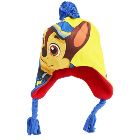 PAW Patrol Chase Nickelodeon Winter Hat With Ear Flaps Blue Toddler 2T-4T - Skunk Hat With Paws