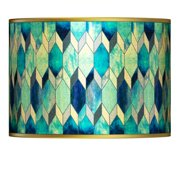 Giclee Gallery Blue Tiffany-Style Gold Metallic Lamp Shade 13.5x13.5x10 (Spider)