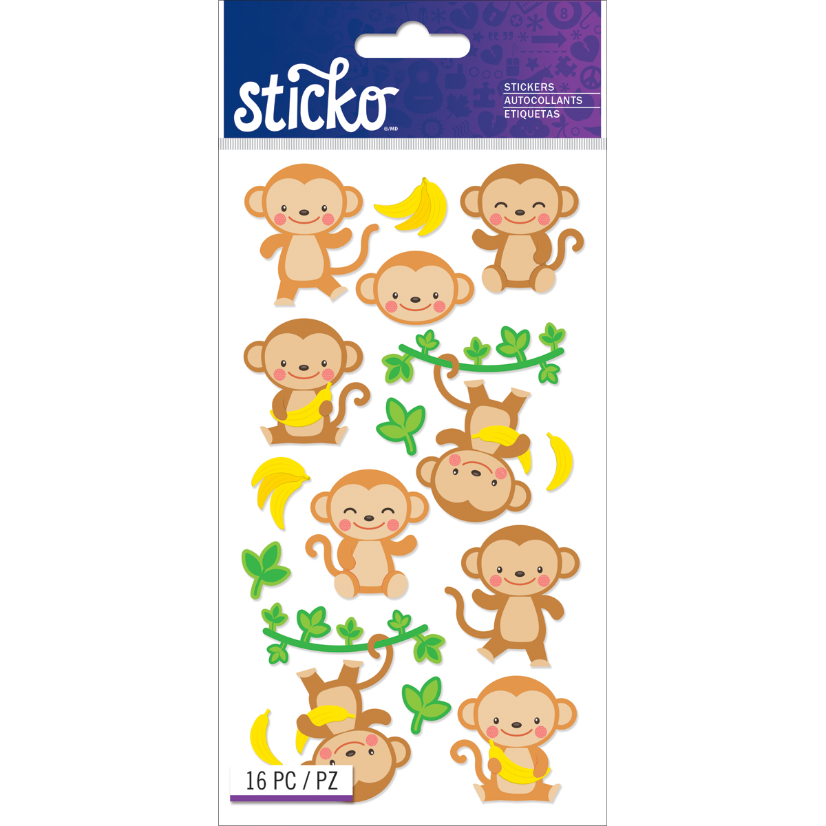 Sticko Classic Stickers-Dancing Monkeys