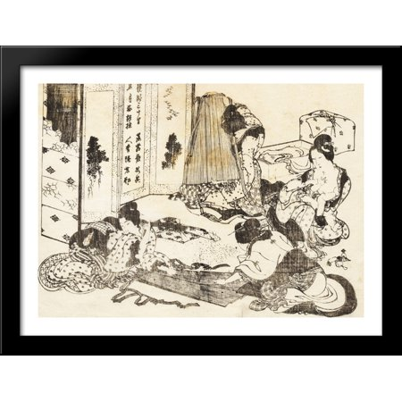 Scene of housekeeping. Four women are working 38x28 Large Black Wood Framed Print Art by Katsushika (Layout Of Housekeeping Department In Large Hotel)