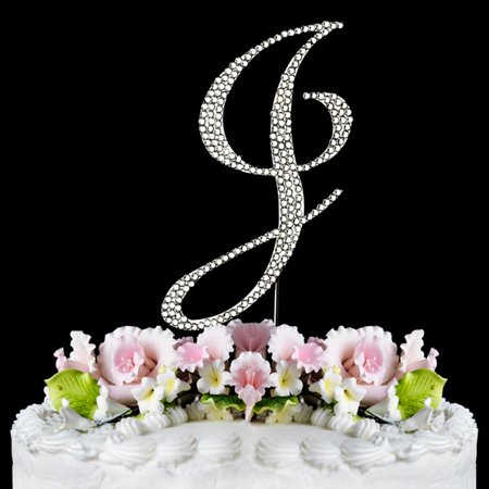 Crystal Monogram - Yacanna Crystal Covered Monogram Cake Toppers Silver Cake Initial J Large