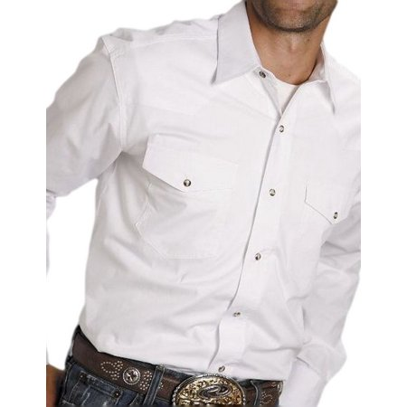 Roper Western Shirt Mens L/S Snap Solid White 03-001-0265-1025 WH Mens Western Snap