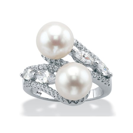 Genuine Freshwater Cultured Pearl and Cubic Zirconia Bypass Ring 1.30 TCW in Sterling Silver (9mm)