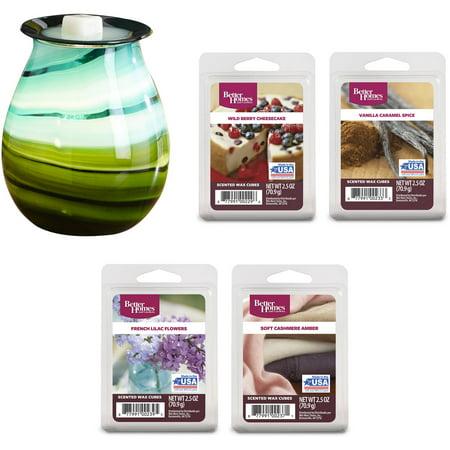 Better Homes And Gardens Marina Art Glass Warmer And Wax Gift Set