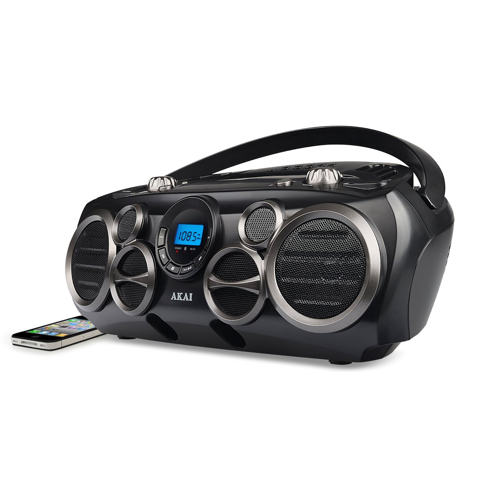 AKAI Bluetooth(R) CD Boombox AM/FM Digital Read Out with 6 Speakers