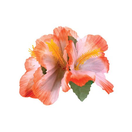 New Orange Adult Luau Hawaiian Flower Hibiscus Costume Accessory Hair Clips