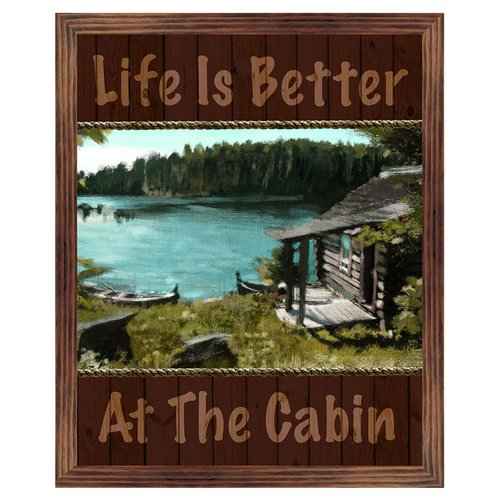 PTM Life is Better at The Cabin Framed Print of Painting on Wrapped Canvas