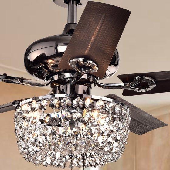 Warehouse of tiffany angel 3 light crystal 5 blade 43 inch bronze chandelier ceiling fan walmart com