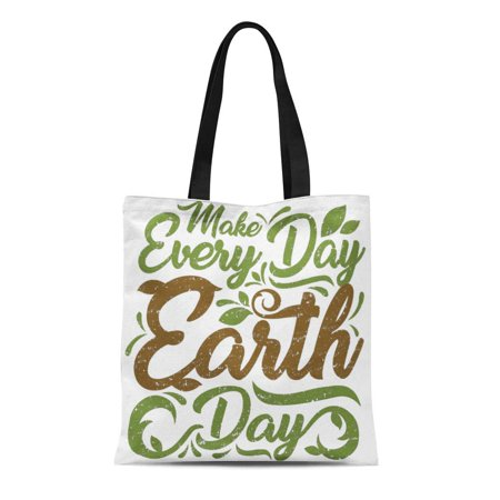 LADDKE Canvas Tote Bag Green Environment Make Every Day Earth Gu Recycle Mother Reusable Handbag Shoulder Grocery Shopping Bags ()