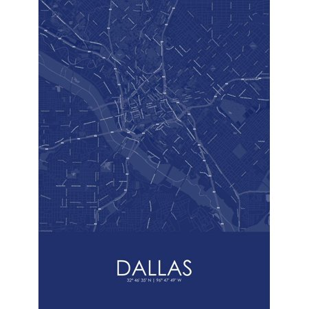 Dallas, United States of America Blue Map Poster Wall Art ()