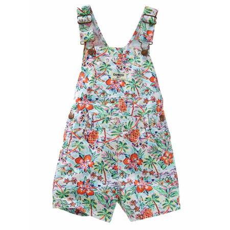 - Osh Kosh Infant Girls Tropical Print Shortall Short Overalls 3 months