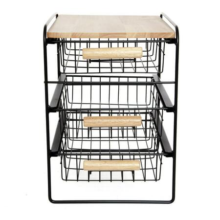 Steel Kitchen Organizer 3 Tier Basket