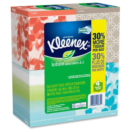 Kleenex Lotion Facial Tissue - 2 Ply - White - Soft - For Face - 75 Sheets Per Pack - 8 / Carton (25834ct)