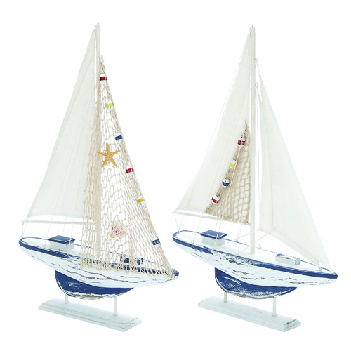 Decmode Wood Sailing Boat, Multi Color